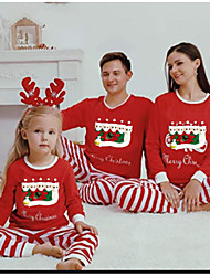cheap -Family Look Family Matching Outfits Clothing Set Snowman Graphic Long Sleeve Print Red Christmas