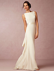 cheap -Sheath / Column Wedding Dresses Bateau Neck Sweep / Brush Train Satin Regular Straps Vintage Sparkle & Shine with Draping 2020