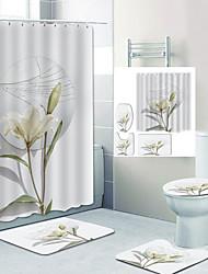cheap -Broken Mirror Baise Flowers Digital Printing Four-piece Set Shower Curtains and Hooks Modern Polyester Machine Made Waterproof Bathroom