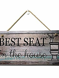 cheap -printed wood plaque sign wall hanging sign best seat in the house wall art sign size 11.5'' x 6'' (best seat in the house)