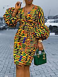 cheap -Women's A-Line Dress Knee Length Dress - Long Sleeve Print Lace up Zipper Patchwork Fall V Neck Elegant Puff Sleeve Slim 2020 Yellow S M L XL XXL