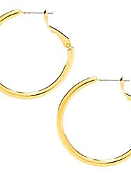 cheap -hoop earrings for women and men 24k real gold plated (gold)