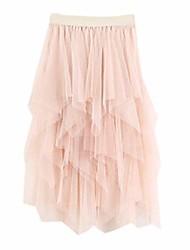 cheap -casual womens irregular comfortable tulle high waist pleated tutu skirt ladies solid midi skirt(beige,free size)