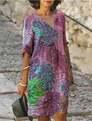 cheap -Women's Shirt Dress Knee Length Dress - Half Sleeve Tie Dye Print Summer V Neck Plus Size Casual Loose 2020 Purple Yellow Green Light Blue S M L XL XXL 3XL 4XL 5XL