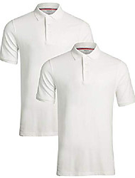 cheap -young men's uniform short sleeve pique polo shirt (2-pack), white, size large'