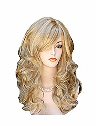cheap -24 inch long curly wig for women charming synthetic fiber hair wig for daily party costume wigs (gold)