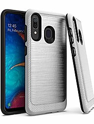 cheap -encases 2 in 1 cell phone case for samsung galaxy a20 / a30 / a50, brushed metal dual layer hybrid case, shockproof bumper cover, silver