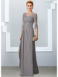 cheap -A-Line Mother of the Bride Dress Elegant Jewel Neck Floor Length Chiffon Lace Half Sleeve with Appliques 2021