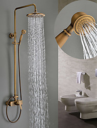 cheap -Sprinkle® Single Handle Shower Faucets, Antique Brass Three Holes Rainfall Shower Faucets, Brass Traditional Shower Faucets