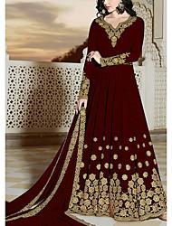 cheap -Women's Chiffon Dress Maxi long Dress - Long Sleeve Print Print Fall V Neck Plus Size Formal Party Loose 2020 Black Red Green S M L XL XXL 3XL 4XL 5XL