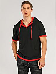 cheap -Men's T shirt Short Sleeve Daily Tops Basic Blue Black Black / Red Black / White