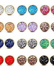 cheap -12 pack stainless steel druzy stud earrings set colors round earrings gold for women girls