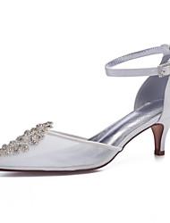 cheap -Women's Wedding Shoes High Heel Pointed Toe Wedding Party & Evening Satin Mesh Rhinestone White Ivory
