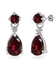 cheap -sterling silver synthetic ruby teardrop dangle earrings