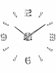 cheap -diy analog silent wall clock creative 3d numbers design plastic frame glass cover wall decorative dial diameter 3.94 inch without scale for corridor school office bedroom(silver)