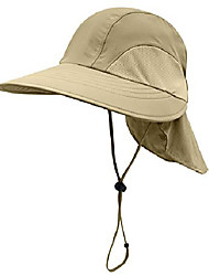 cheap -mens womens uv protection sun hat wide brim mesh fishing hats with neck cover adjustable khaki