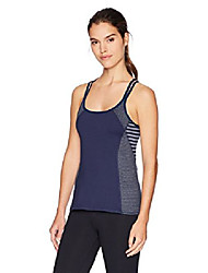 cheap -women's studio activewear athletic yoga tank with built-in shelf bra, heather academy navy, xl