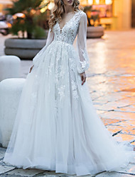 cheap -A-Line Wedding Dresses Jewel Neck Court Train Lace Tulle Long Sleeve Romantic with 2021