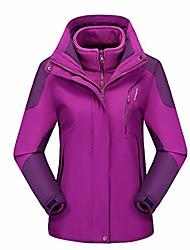 cheap -women's ski winter jacket waterproof 3 in 1 mountain coat windproof hooded with inner warm fleece coat purple