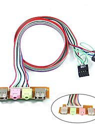 cheap -USB PC Computer Case 6.8cm Front Panel USB Audio Port Mic Earphone Cable
