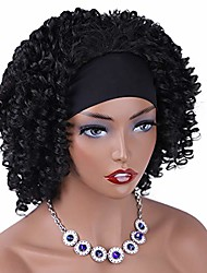 cheap -headband wigs for black women short curly half wigs curly synthetic hair glueless wig for women natural looking black curly headband wig heat resistant hair for daily use.