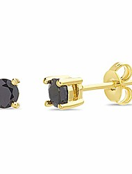 cheap -24k yellow gold plated brass round black cubic zirconia stud earrings for men (6mm)