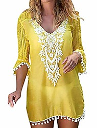 cheap -women's bathing suit cover up for beach pool swimwear crochet dress yellow