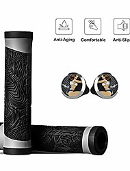 cheap -ergonomic mountain bike grips anti-slip food-grade silicone handlebar grip for scooters, mtb, bmx, road bikes and folding bikes, universal 0.87in handlebar grips 1 pair(black)
