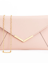 cheap -Women's Bags PU Leather Polyester Evening Bag Chain Solid Colored Party Wedding Evening Bag 2021 Handbags Black Blushing Pink Gold Silver