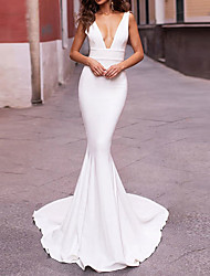 cheap -Mermaid / Trumpet Wedding Dresses Plunging Neck Sweep / Brush Train Stretch Satin Sleeveless Sexy Plus Size with Draping 2021