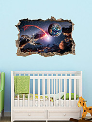 cheap -3D Broken Wall Planet Satellite Series Wall Stickers Home Children's Room Bedroom Background Decoration Removable Wall Stickers