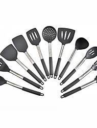 cheap -Stainless Steel + Silicone Cookware Sets New Design Non-Stick Kitchen Utensils Tools 11 Pcs