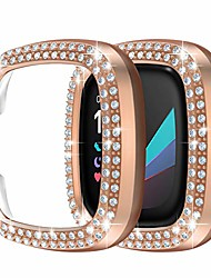 cheap -case for fitbit sense/versa 3-2 pack double row crystal diamonds pc plated bumper frame bling protector cover(no screen protector) protective case for women girls smartwatch accessories, rose gold