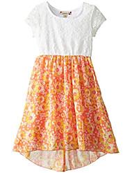 cheap -little girls' daisy print lace to chiffon dress, clear lilly, 5