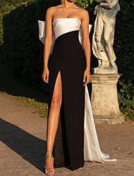 cheap -Sheath / Column Minimalist Sexy Engagement Formal Evening Dress Strapless Sleeveless Sweep / Brush Train Satin with Split 2020