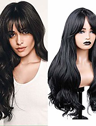 cheap -long wavy wigs with bangs black synthetic wigs middle part heat resistant fiber natural looking party cosplay full wigs for women girls
