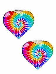 cheap -rainbow tie dye heart clip on earrings for girls, silver tone, metal, 1 pair