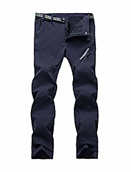 cheap -unisex outdoor monolayer lightweight waterproof mountain pants with adjustable buckle for spring autumn navy blue