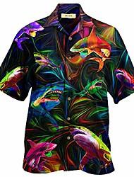 cheap -amazing shark unisex hawaiian shirt black