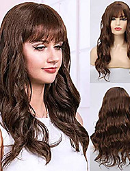 cheap -long curly brown wavy wigs for women synthetic heat resistant halloween cosplay hair full wigs with bangs