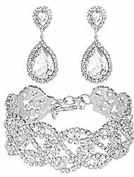cheap -miraculous garden silver plated crystal rhinestone teardrop drop dangle earrings link bracelet jewelry set for women girls,2 pack women's bridal wedding party bridesmaid prom jewelry gift.
