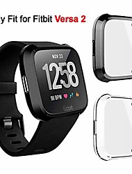 cheap -2 packs soft tpu plated Smartwatch Screen Protector all-around protective cover shell case compatible with fitbit versa 2 smartwatch scratchproof anti-shatter anti-impact