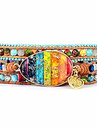 cheap -imperial jasper chakra bracelet stackable spiritual artistic leather wrap bracelet w/ natural stones (chakra)