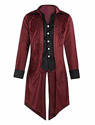 cheap -fashion men's tailcoat goth steampunk uniform retro long sleeve party tuxedo outwear coat(red,2xl)