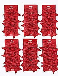 "cheap -24 pcs glitter sponge christmas tree bow for xmas ornaments wreath decor (7.1""x6.7"", rose gold)"