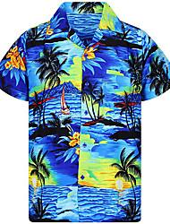 cheap -sunset beach palm tree hawaiian shirt red-l
