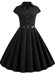 cheap -Women's Swing Dress Knee Length Dress - Short Sleeve Solid Color Patchwork Button Summer V Neck Shirt Collar Vintage Cotton Slim 2020 Black S M L XL XXL