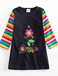 cheap -Kids Girls' Cute Striped Floral Graphic Patchwork Print Long Sleeve Above Knee Dress Royal Blue