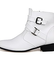cheap -men's winter&spring fashion boot with ankle buckle straps high top dress boots white