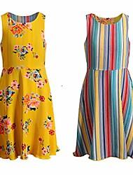 cheap -girl's reversible dress - sleeveless 7-16, yellow stripes, 10